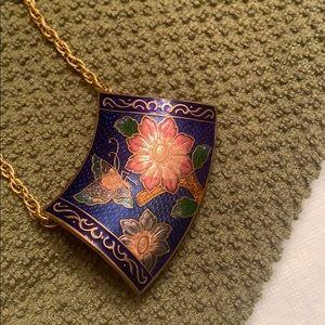 Vintage Cloisonné Slide Necklace